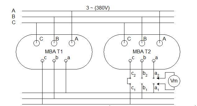 Hình 2: Trường hợp 2- Trung tính phía thứ cấp không đưa ra ngoài hoặc phía thứ cấp đấu tam giác.