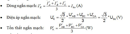 Các giá trị trung bình ở điện áp đo